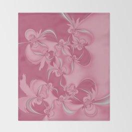 Pink Fractal Flowers Throw Blanket
