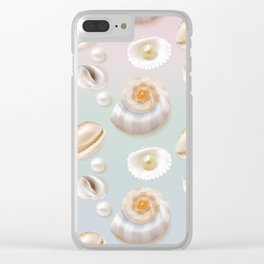 Seashell Seashells Pearls on pastel multicolor backdrop on #Society6 Clear iPhone Case