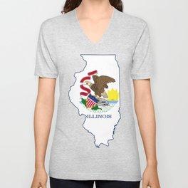 Illinois with Illinois State Flag Unisex V-Neck