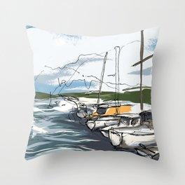Sausalito Marina Throw Pillow