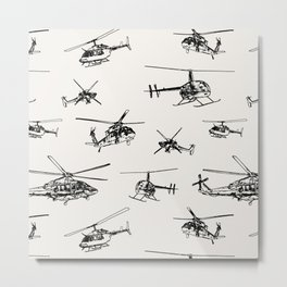Helicopters on Linen White Metal Print