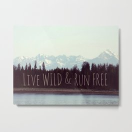Wild & Free   Mountain Landscape Nature photograph Metal Print