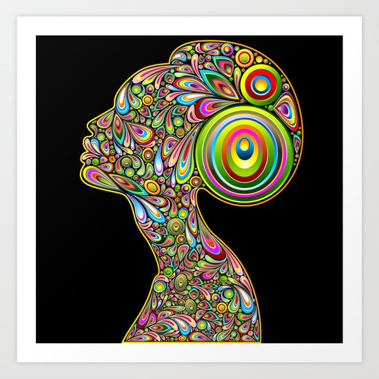 Woman Psychedelic Art Design Portrait Art Print