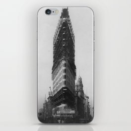 Old NYC Flat Iron Building Construction Photograph iPhone Skin
