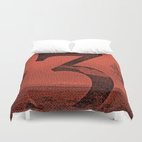 three of the possessed Duvet Covers featuring Three by YONIL