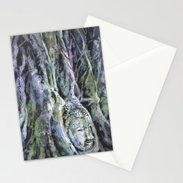 Buddha head overgrown by sycamore roots at UNESCO Stationery Cards