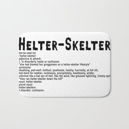 Helter Skelter (black on white) Bath Mat