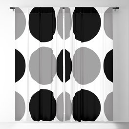 Mid Century Modern Polka Dot Pattern 9 Black and Gray Blackout Curtain