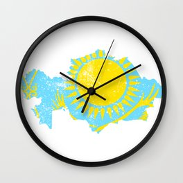 Distressed Kazakhstan Map Wall Clock