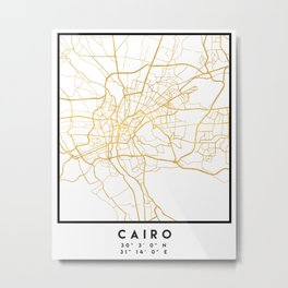 CAIRO EGYPT CITY STREET MAP ART Metal Print