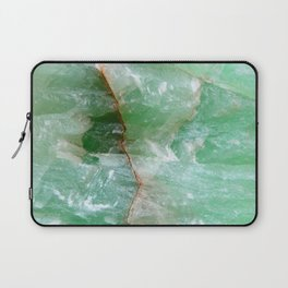Crystalized Pale Green Quartz Slab with Copper Vein Laptop Sleeve