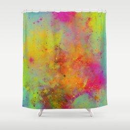 Rainbow Galaxy - Abstract, rainbow coloured space painting Shower Curtain