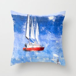 Catamaran Caribbean Art Throw Pillow