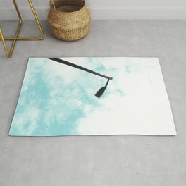 Turquoise Sky Clouds Rug