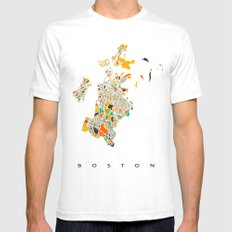 Boston map SMALL Mens Fitted Tee White