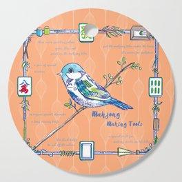 Sparrow Mahjong in Orange Cutting Board