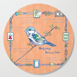 Sparrow Mahjong in Orange Cutting Board
