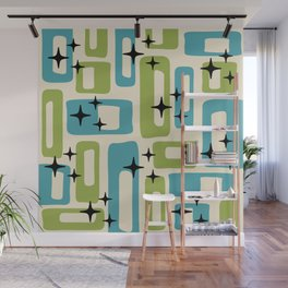 Retro Mid Century Modern Abstract Pattern 225 Blue and Green Wall Mural