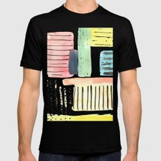 Dots and Stripes (pastels) MEDIUM Black Mens Fitted Tee