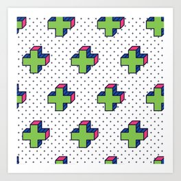 Plus Background in Neo Memphis Style Colorful Decorative pattern Art Print