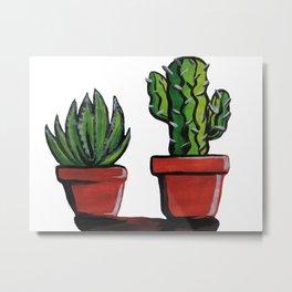 Baby Cacti on the Windowsill Metal Print