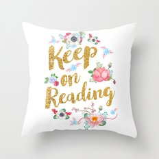 Keep On Reading Gold Foil Throw Pillow