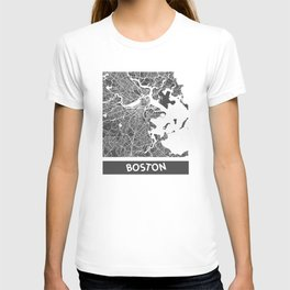 Boston map blue T-shirt