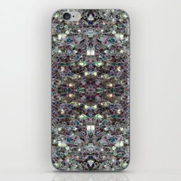 Sparkly colourful silver mosaic mandala iPhone Skin
