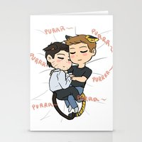 destiel Stationery Cards featuring Feline!Destiel by Tsuki-Nekota