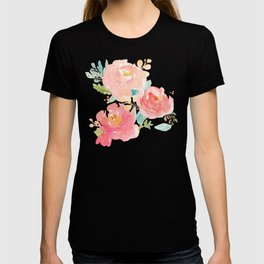Watercolor Peonies Summer Bouquet T-shirt