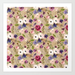 Violet and Pink Blossom on Sand Colored Background Art Print