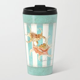 Conch Shell Striped Shabby Beach Cottage Watercolor Illustration Travel Mug