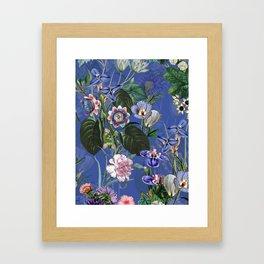 Vintage & Shabby Chic -  Classic Night Blue Exotic Botanical Garden Framed Art Print
