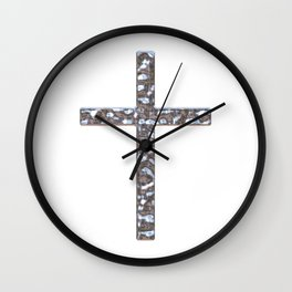 Chrome Crucifix Solid Wall Clock
