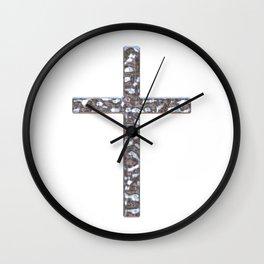 Chrome Crucifix Solid Wall Clock