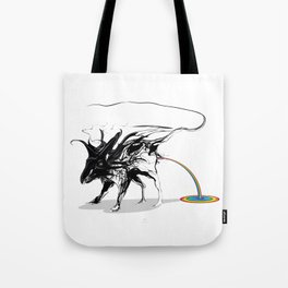 Rat and rainbow. Black on white background-(Red eyes series) Tote Bag