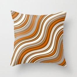 Wavy Stripes Pattern: Orange Throw Pillow