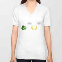 pun V-neck T-shirts featuring Fruit Pun by Tom Cronin