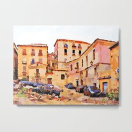 Catanzaro: buildings of the historic center with cars Metal Print