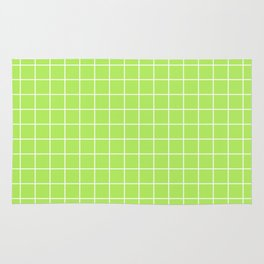 Inchworm - green color - White Lines Grid Pattern Rug