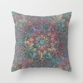 Winter Sunset Mandala in Charcoal, Mint and Melon Throw Pillow