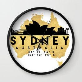 SYDNEY AUSTRALIA SILHOUETTE SKYLINE MAP ART Wall Clock