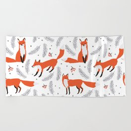 Red foxes and berries in the winter forest Beach Towel