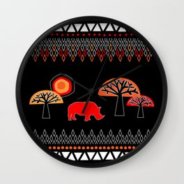 African Rhino (Hot colors) Wall Clock
