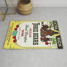 Vintage Three Bears Wine Bottle Label Print Rug