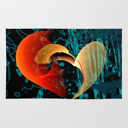 Love Me Abstract Art with Heart Rug