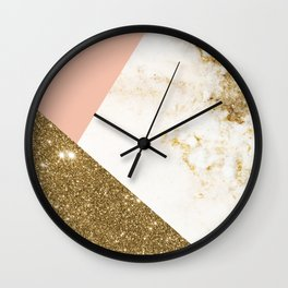 Gold marble collage Wall Clock