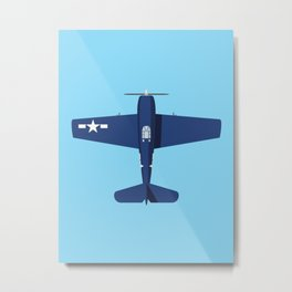 F6F Hellcat WWII Fighter Aircraft - Blue Sky Metal Print