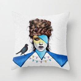 Blue Girl & Black Bird Throw Pillow