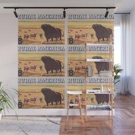 Rural America cattles herd vintage US post stamp Wall Mural